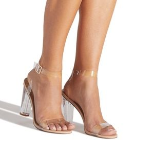 Shoe Dazzle Hanna Transparent Heeled Sandal